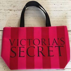 Victoria Secret Small Red/Pink Stripes Handbag EUC